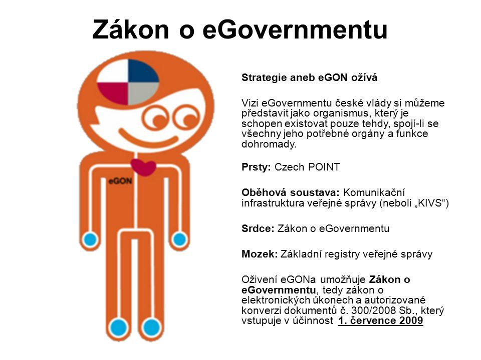 Zákon o eGovernmentu Strategie aneb eGON ožívá Vizi eGovernmentu české vlády si můžeme představit jako organismus, který je schopen existovat pouze tehdy, spojí-li se všechny jeho potřebné orgány a funkce dohromady.