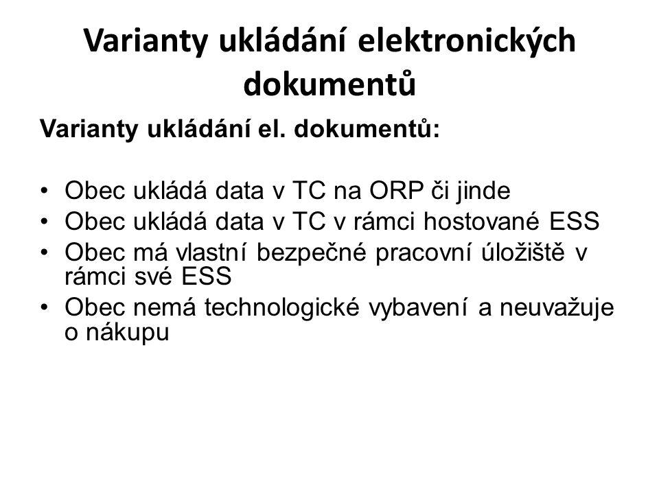 Varianty ukládání elektronických dokumentů Varianty ukládání el.