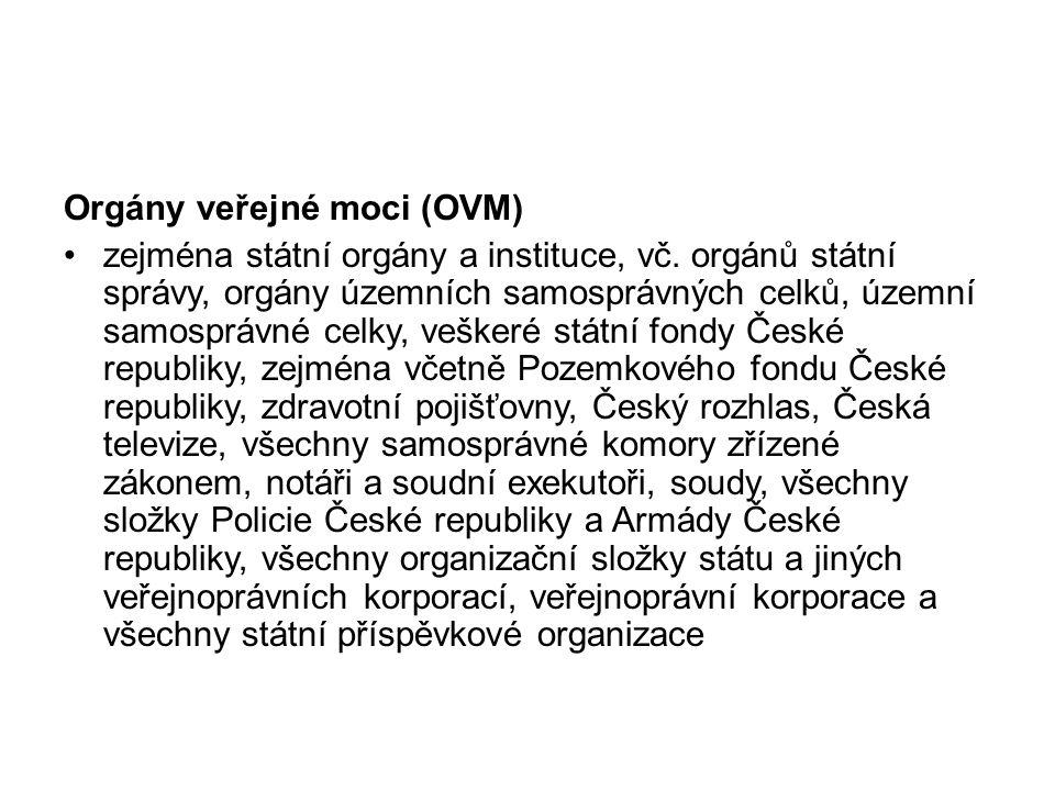 Orgány veřejné moci (OVM) zejména státní orgány a instituce, vč.