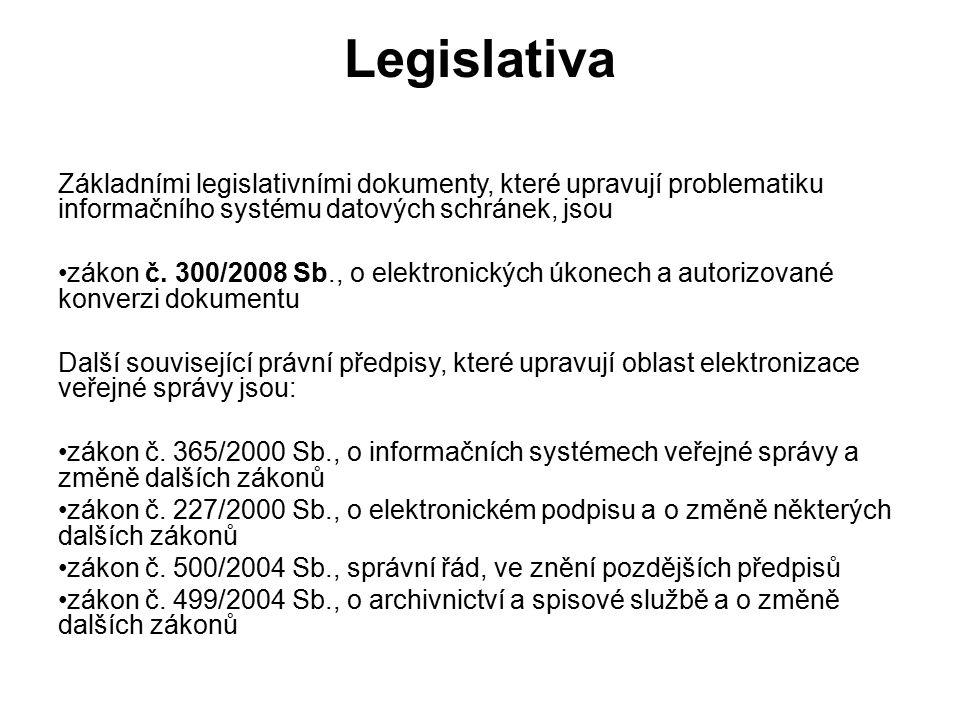 Legislativa Základními legislativními dokumenty, které upravují problematiku informačního systému datových schránek, jsou zákon č.