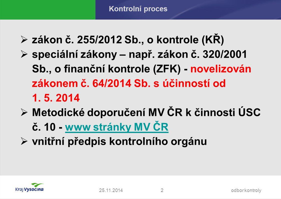 25.11.2014 Kontrolní proces  zákon č. 255/2012 Sb., o kontrole (KŘ)  speciální zákony – např.