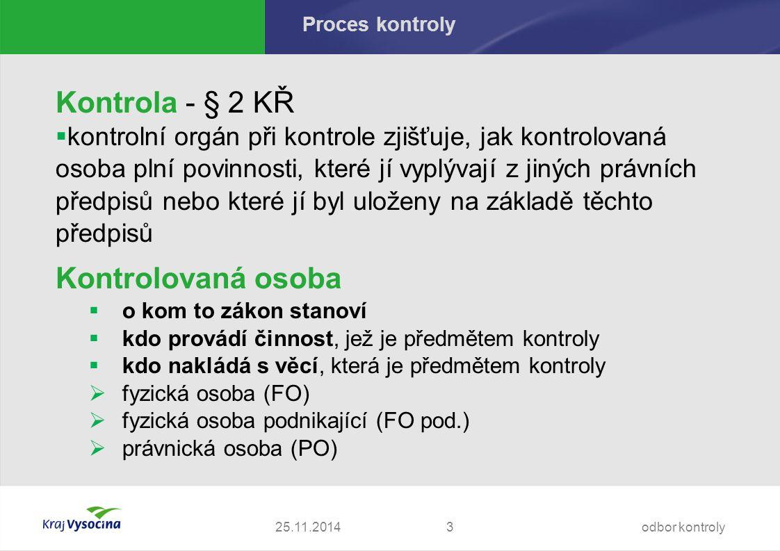 Proces kontroly - protokol Protokol - § 12 KŘ  povinnost jeho vyhotovení do 30 dnů ode dne provedení posledního kontrolního úkonu, ve zvláště složitých případech do 60 dnů  stejnopis doručí kontrolní orgán kontrolované osobě  nevyhotovení ve lhůtě  pracovněprávní důsledky, nikoli dle KŘ 25.11.2014odbor kontroly34