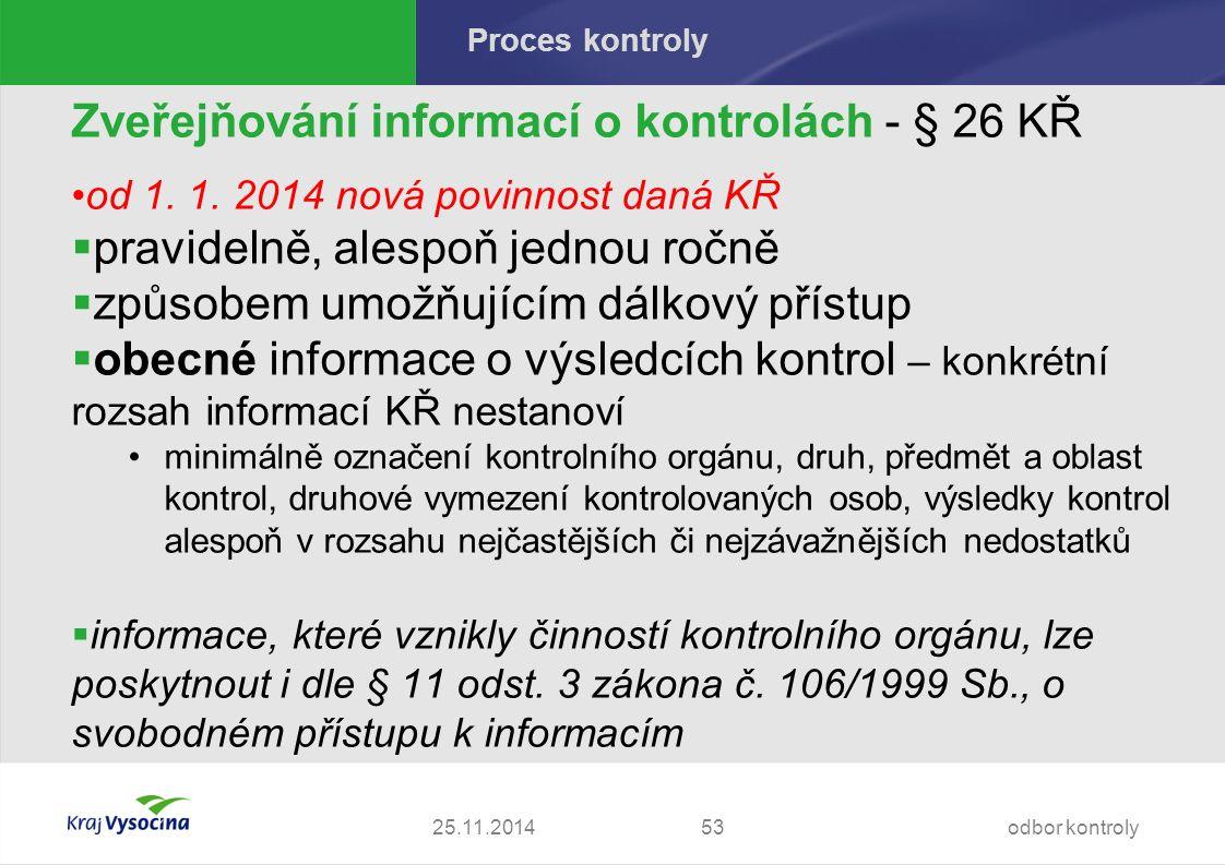 Proces kontroly Zveřejňování informací o kontrolách - § 26 KŘ od 1.