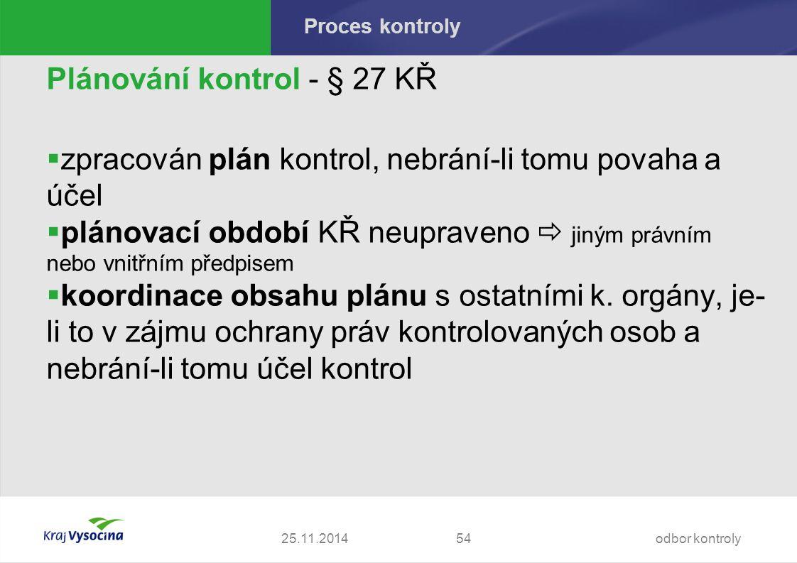 Proces kontroly Plánování kontrol - § 27 KŘ  zpracován plán kontrol, nebrání-li tomu povaha a účel  plánovací období KŘ neupraveno  jiným právním nebo vnitřním předpisem  koordinace obsahu plánu s ostatními k.
