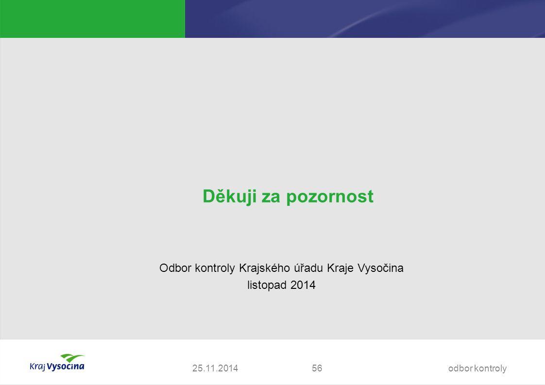 25.11.2014 Děkuji za pozornost Odbor kontroly Krajského úřadu Kraje Vysočina listopad 2014 odbor kontroly56