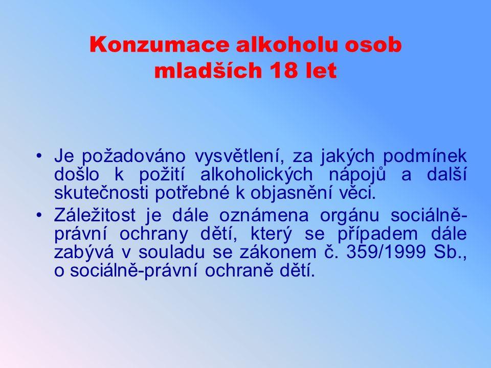Konzumace alkoholu osob mladších 18 let Je požadováno vysvětlení, za jakých podmínek došlo k požití alkoholických nápojů a další skutečnosti potřebné k objasnění věci.