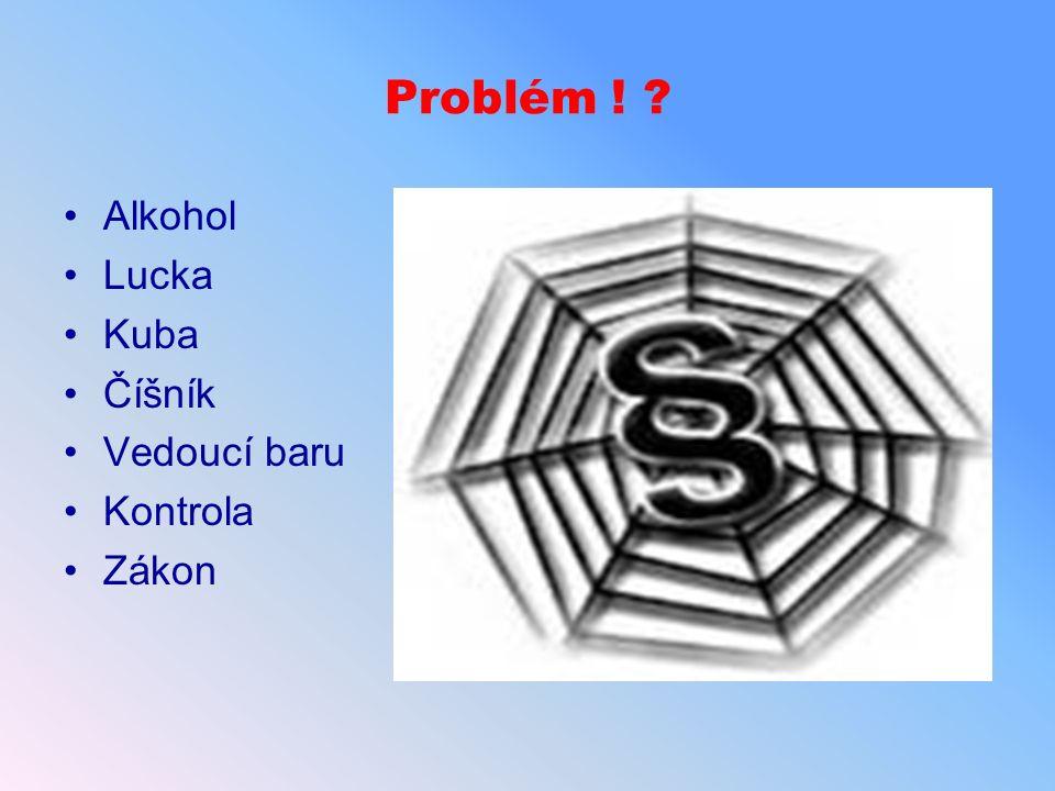 Problém ! Alkohol Lucka Kuba Číšník Vedoucí baru Kontrola Zákon