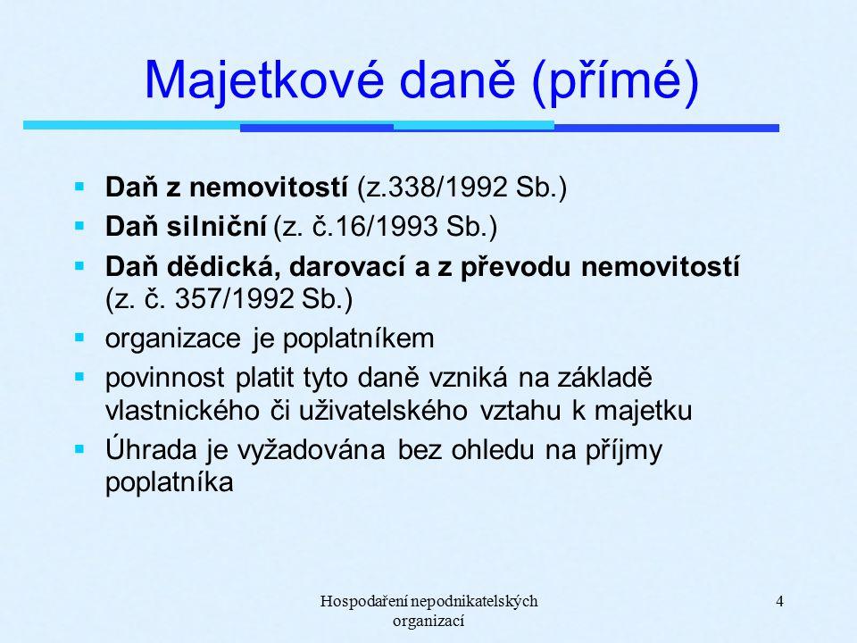 Hospodaření nepodnikatelských organizací 4 Majetkové daně (přímé)  Daň z nemovitostí (z.338/1992 Sb.)  Daň silniční (z.