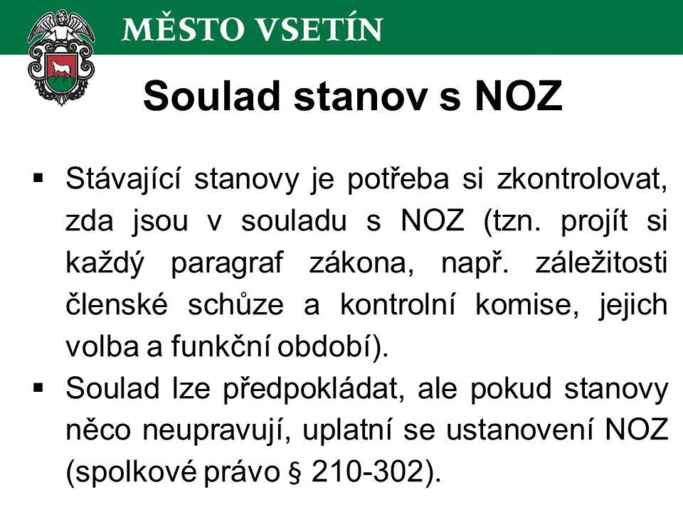 Soulad stanov s NOZ  Stávající stanovy je potřeba si zkontrolovat, zda jsou v souladu s NOZ (tzn.