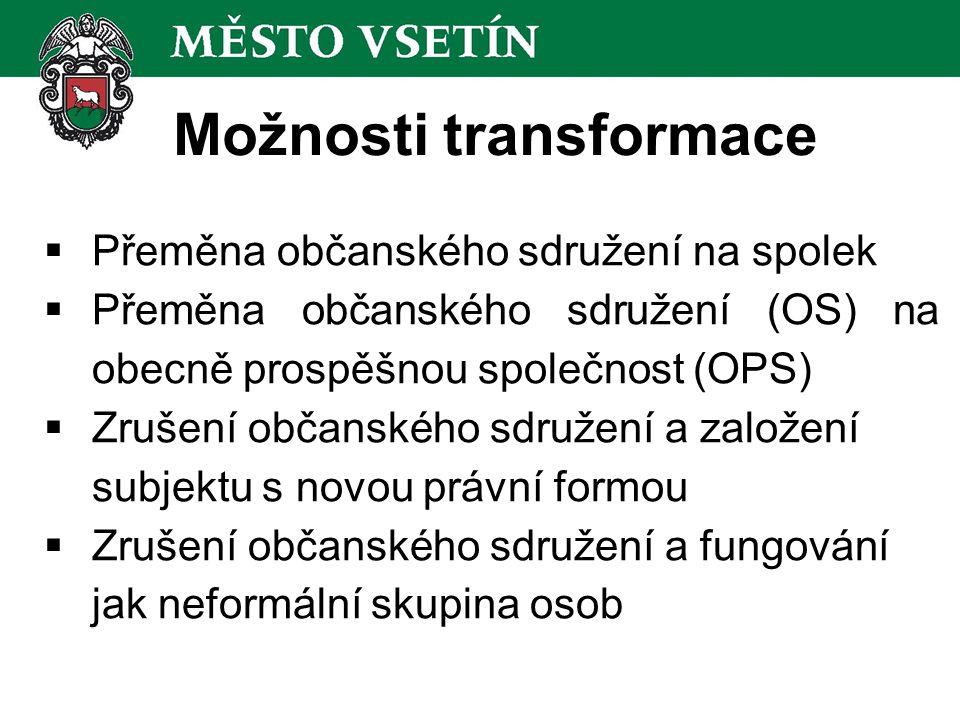 Přeměna OS na spolek  Automatické změny: Od 1.1.2014 jsou obč.sdružení považována za spolky a platí pro ně všechna relevantní ustanovení NOZ.