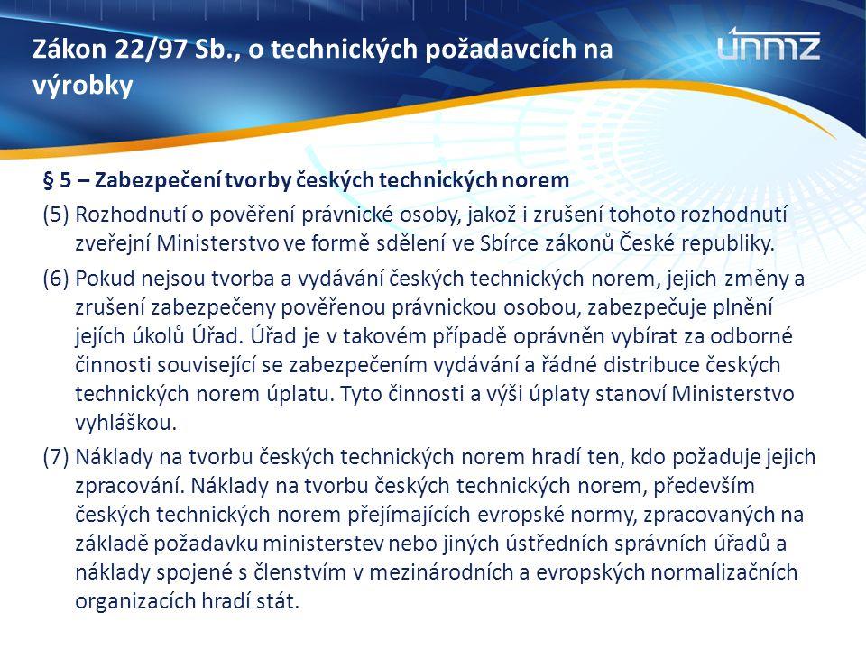 Zákon 22/97 Sb., o technických požadavcích na výrobky § 5 – Zabezpečení tvorby českých technických norem (5) Rozhodnutí o pověření právnické osoby, jakož i zrušení tohoto rozhodnutí zveřejní Ministerstvo ve formě sdělení ve Sbírce zákonů České republiky.