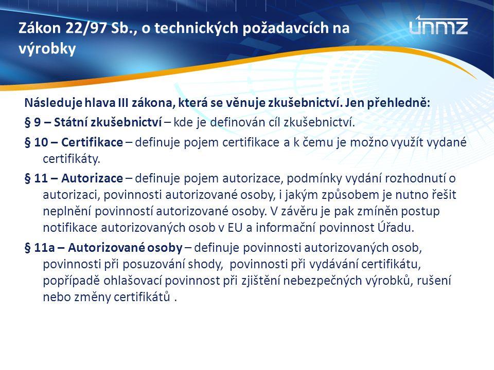 Zákon 22/97 Sb., o technických požadavcích na výrobky Následuje hlava III zákona, která se věnuje zkušebnictví.