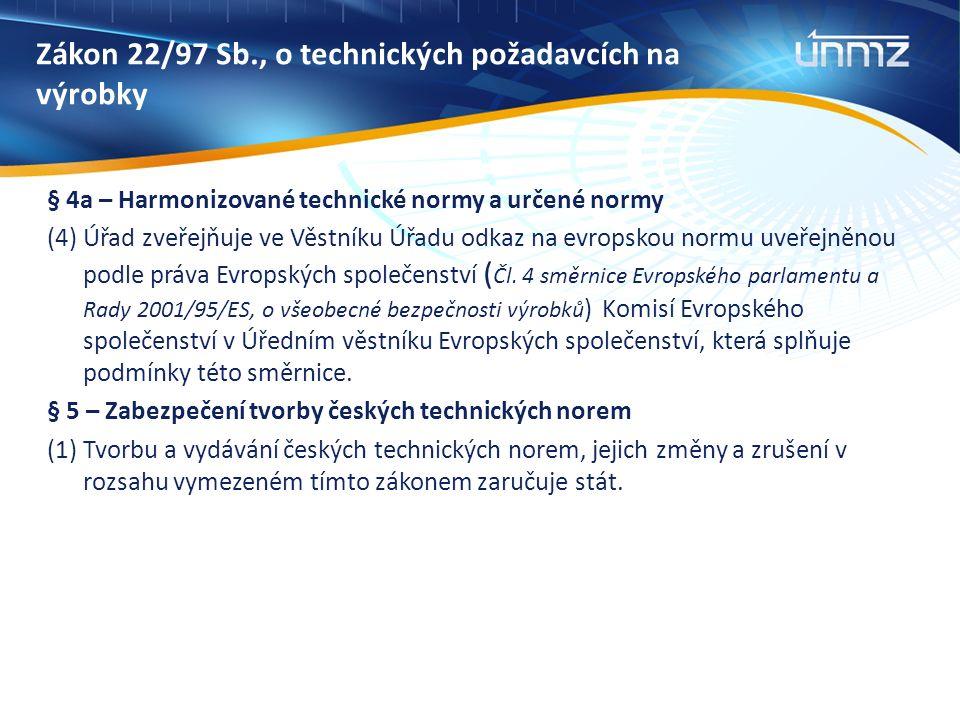 Zákon 22/97 Sb., o technických požadavcích na výrobky § 4a – Harmonizované technické normy a určené normy (4) Úřad zveřejňuje ve Věstníku Úřadu odkaz na evropskou normu uveřejněnou podle práva Evropských společenství ( Čl.
