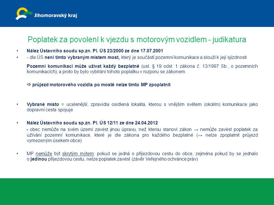 Poplatek za povolení k vjezdu s motorovým vozidlem - judikatura Nález Ústavního soudu sp.zn.