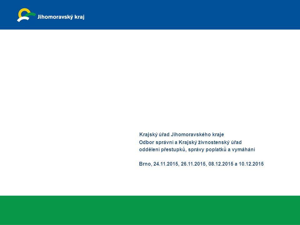 Krajský úřad Jihomoravského kraje Odbor správní a Krajský živnostenský úřad oddělení přestupků, správy poplatků a vymáhání Brno, 24.11.2015, 26.11.2015, 08.12.2015 a 10.12.2015