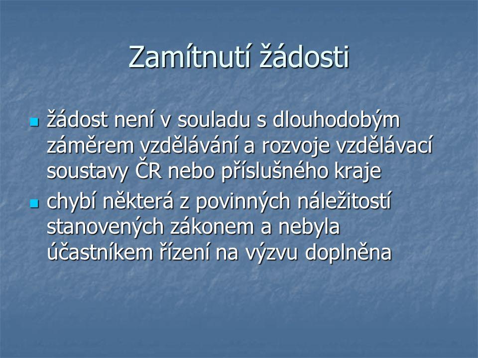 Zamítnutí žádosti žádost není v souladu s dlouhodobým záměrem vzdělávání a rozvoje vzdělávací soustavy ČR nebo příslušného kraje žádost není v souladu