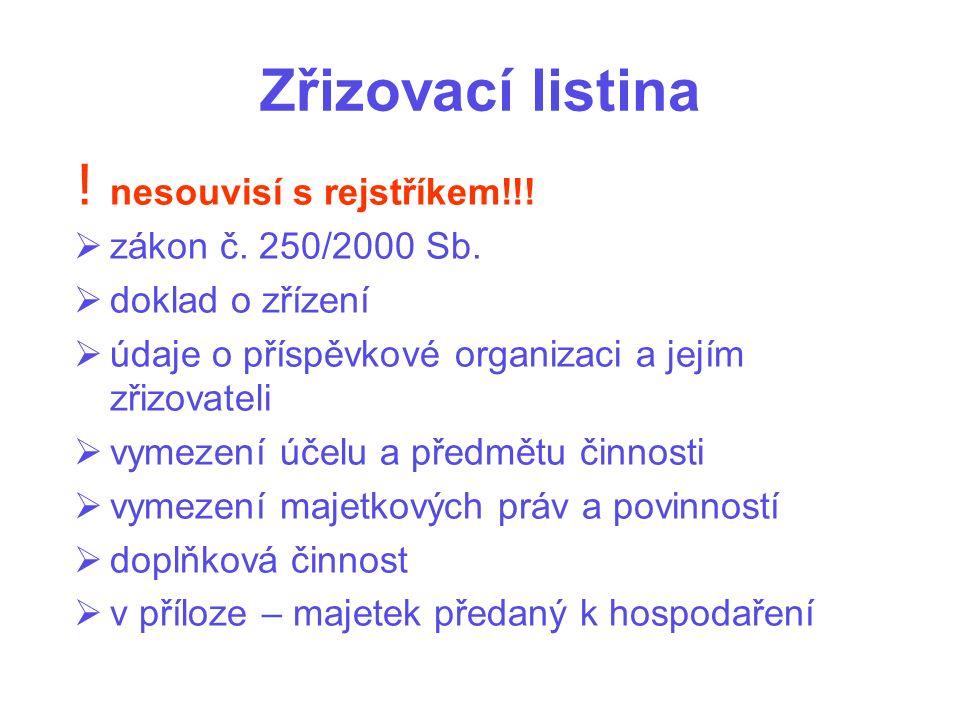 Zřizovací listina ! nesouvisí s rejstříkem!!!  zákon č. 250/2000 Sb.  doklad o zřízení  údaje o příspěvkové organizaci a jejím zřizovateli  vymeze