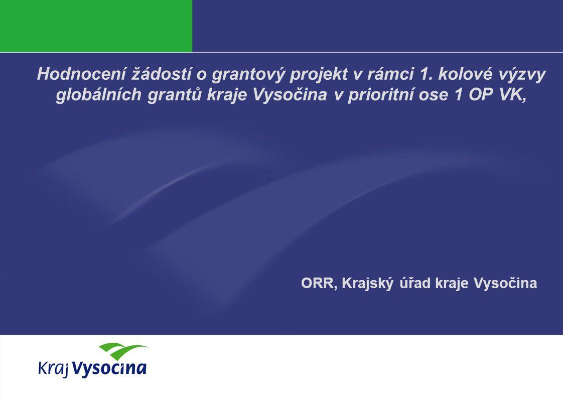 Vendula Hanzalová 4. 5. 2011 Hodnocení žádostí o grantový projekt v rámci 1. kolové výzvy globálních grantů kraje Vysočina v prioritní ose 1 OP VK, OR