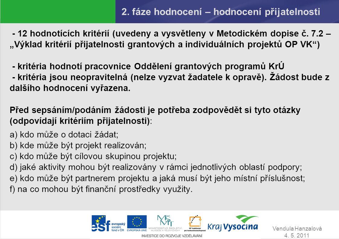 Vendula Hanzalová 4. 5. 2011 2. fáze hodnocení – hodnocení přijatelnosti - 12 hodnotících kritérií (uvedeny a vysvětleny v Metodickém dopise č. 7.2 –