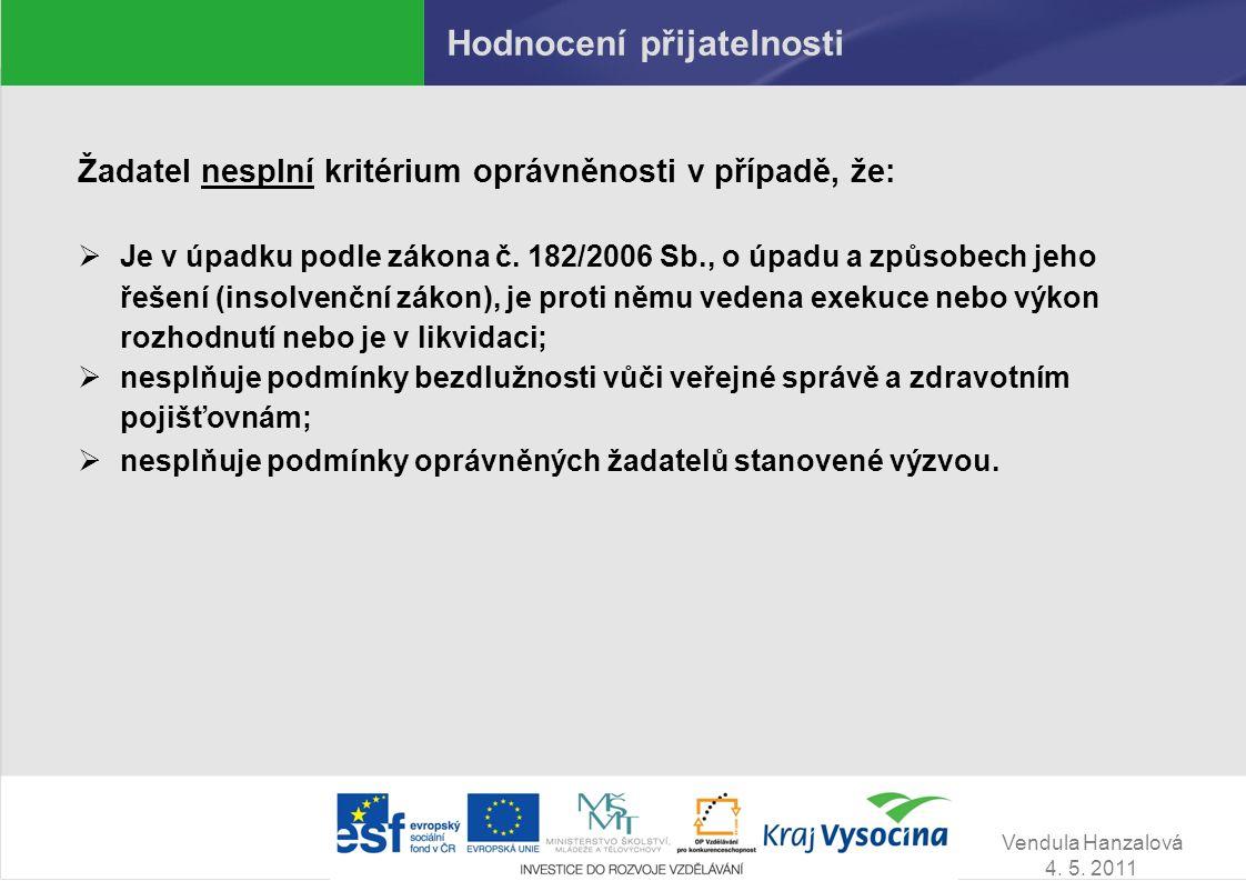 Vendula Hanzalová 4. 5. 2011 Hodnocení přijatelnosti Žadatel nesplní kritérium oprávněnosti v případě, že:  Je v úpadku podle zákona č. 182/2006 Sb.,
