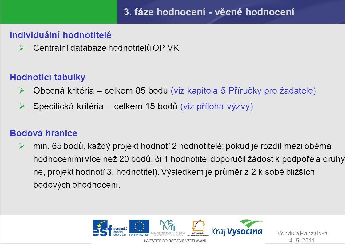 Vendula Hanzalová 4. 5. 2011 3. fáze hodnocení - věcné hodnocení Individuální hodnotitelé  Centrální databáze hodnotitelů OP VK Hodnotící tabulky  O