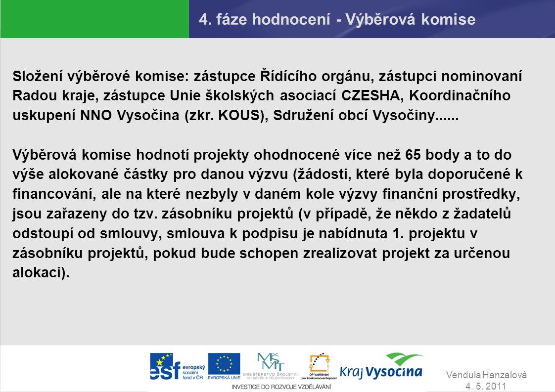 Vendula Hanzalová 4. 5. 2011 4. fáze hodnocení - Výběrová komise Složení výběrové komise: zástupce Řídícího orgánu, zástupci nominovaní Radou kraje, z