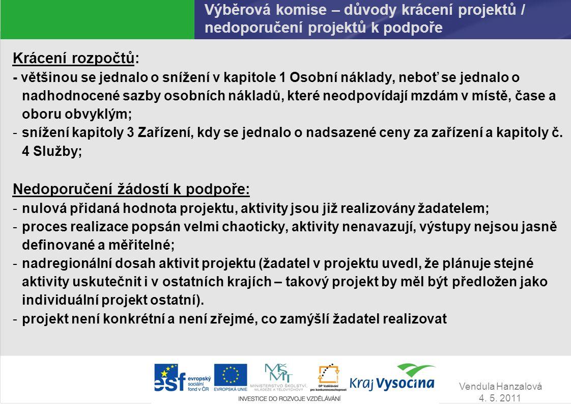 Vendula Hanzalová 4. 5. 2011 Výběrová komise – důvody krácení projektů / nedoporučení projektů k podpoře Krácení rozpočtů: - většinou se jednalo o sní