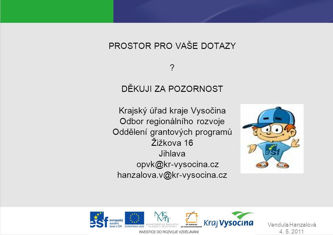 Vendula Hanzalová 4.5. 2011 PROSTOR PRO VAŠE DOTAZY .