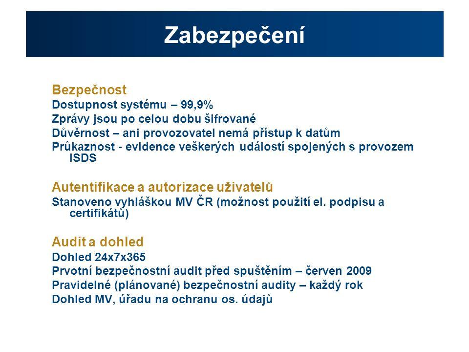 Zabezpečení Bezpečnost Dostupnost systému – 99,9% Zprávy jsou po celou dobu šifrované Důvěrnost – ani provozovatel nemá přístup k datům Průkaznost - evidence veškerých událostí spojených s provozem ISDS Autentifikace a autorizace uživatelů Stanoveno vyhláškou MV ČR (možnost použití el.