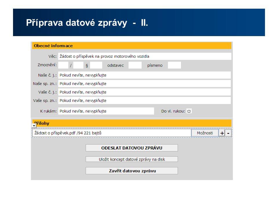 Příprava datové zprávy - II.