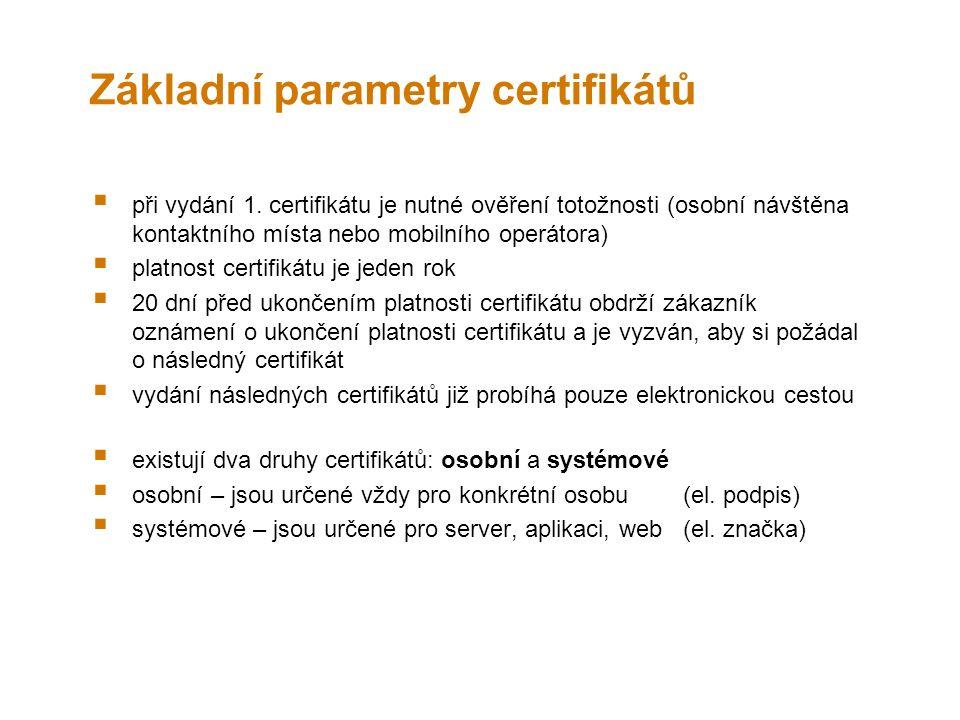 Základní parametry certifikátů  při vydání 1.
