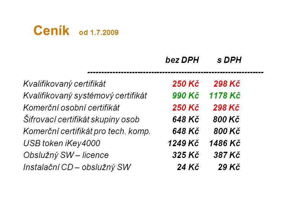 Ceník od 1.7.2009 bez DPH s DPH ---------------------------------------------------------------- Kvalifikovaný certifikát250 Kč 298 Kč Kvalifikovaný systémový certifikát990 Kč 1178 Kč Komerční osobní certifikát 250 Kč 298 Kč Šifrovací certifikát skupiny osob648 Kč 800 Kč Komerční certifikát pro tech.