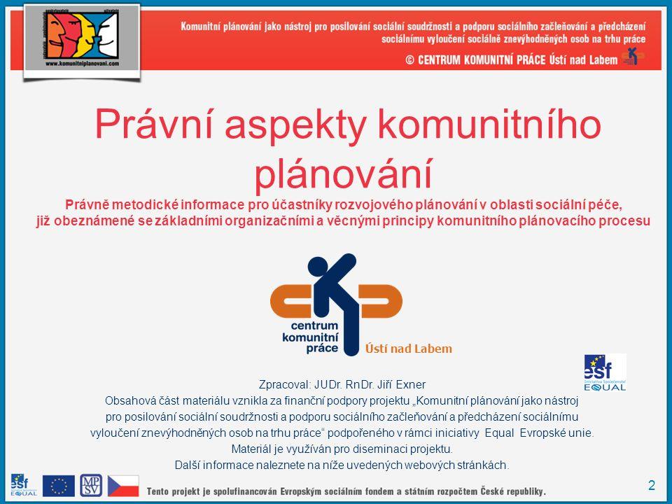 3 Obsah školení 1.Postavení rozvojového plánování v samostatné působnosti územních samosprávných celků a specifika rozvojového plánování v oblasti sociální péče 2.Účastníci komunitního plánování v oblasti sociální péče 3.Právní postavení a právní jednání účastníků komunitního plánování 4.Právní a obdobné vztahy uplatněné a vzniklé během procesu komunitního plánování 5.Praktická cvičení 6.Diskuse 7.Závěr, vyhodnocení