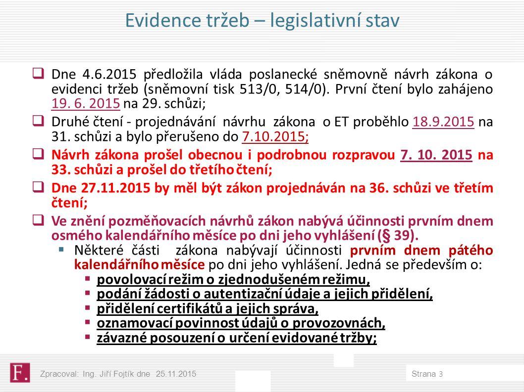 Evidence tržeb – legislativní stav  Dne 4.6.2015 předložila vláda poslanecké sněmovně návrh zákona o evidenci tržeb (sněmovní tisk 513/0, 514/0).