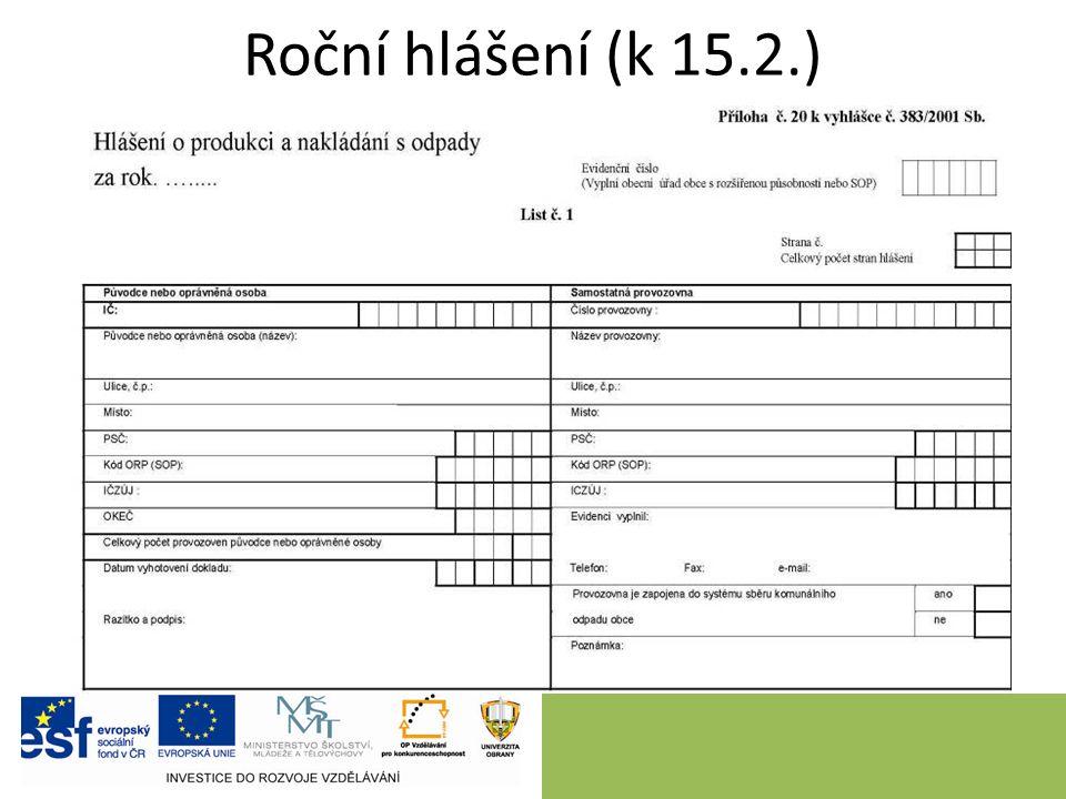 Roční hlášení (k 15.2.)