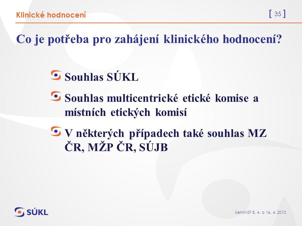 [ 35 ] Seminář 8. 4. a 16. 4. 2010 Co je potřeba pro zahájení klinického hodnocení.