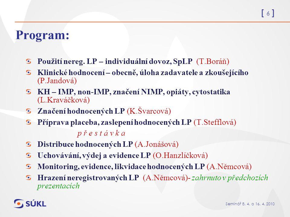 [ 17 ] Seminář 8.4. a 16. 4. 2010 SpLP schvaluje MZ ČR s přihlédnutím ke stanovisku SÚKL.