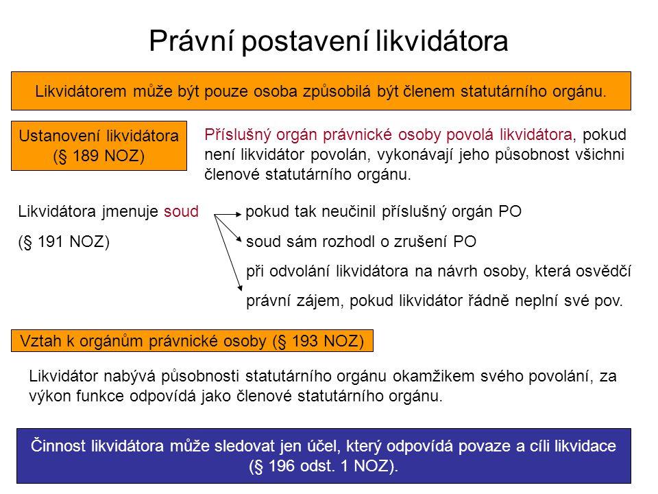 Právní postavení likvidátora Likvidátorem může být pouze osoba způsobilá být členem statutárního orgánu. Ustanovení likvidátora (§ 189 NOZ) Příslušný