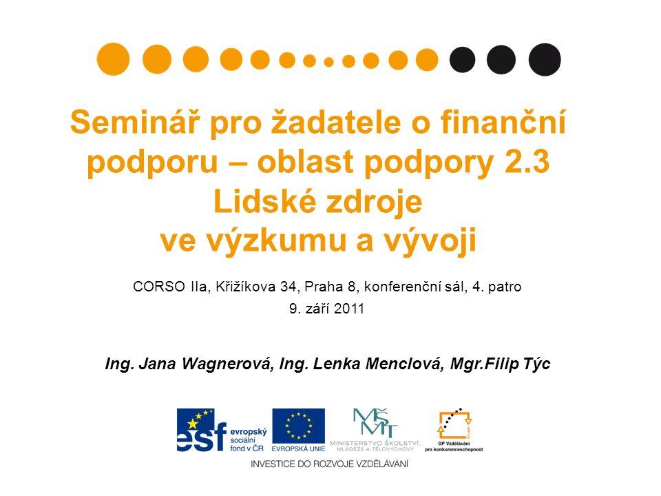 Seminář pro žadatele o finanční podporu – oblast podpory 2.3 Lidské zdroje ve výzkumu a vývoji CORSO IIa, Křižíkova 34, Praha 8, konferenční sál, 4.