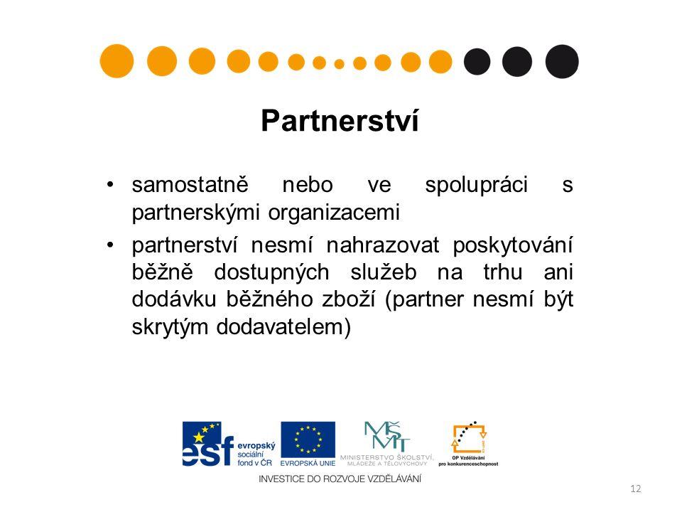 Partnerství samostatně nebo ve spolupráci s partnerskými organizacemi partnerství nesmí nahrazovat poskytování běžně dostupných služeb na trhu ani dodávku běžného zboží (partner nesmí být skrytým dodavatelem) 12