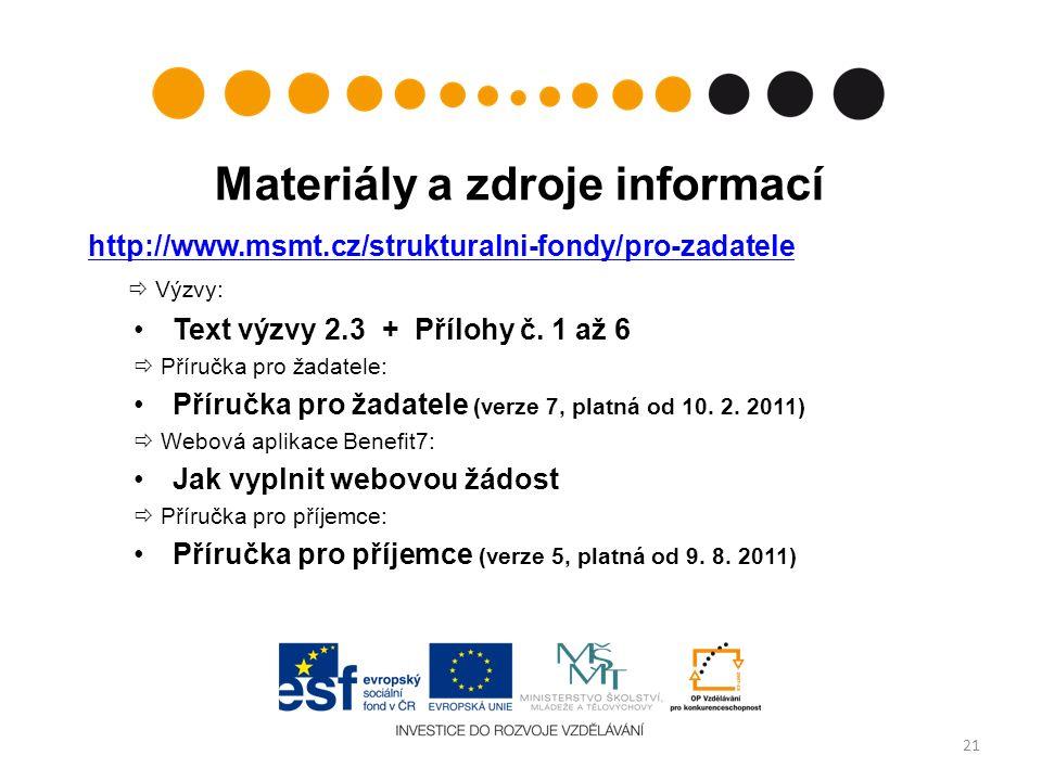 Materiály a zdroje informací http://www.msmt.cz/strukturalni-fondy/pro-zadatele  Výzvy: Text výzvy 2.3 + Přílohy č.