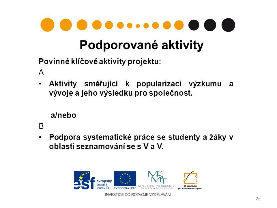 Podporované aktivity Povinné klíčové aktivity projektu: A Aktivity směřující k popularizaci výzkumu a vývoje a jeho výsledků pro společnost.