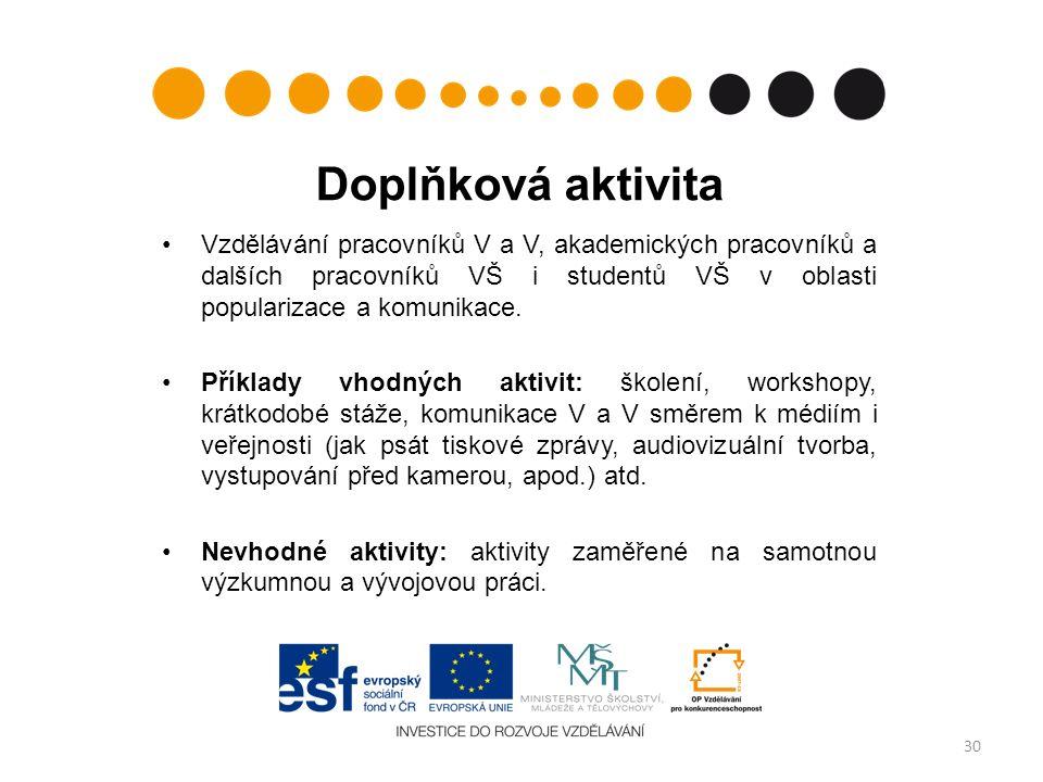 Doplňková aktivita Vzdělávání pracovníků V a V, akademických pracovníků a dalších pracovníků VŠ i studentů VŠ v oblasti popularizace a komunikace.