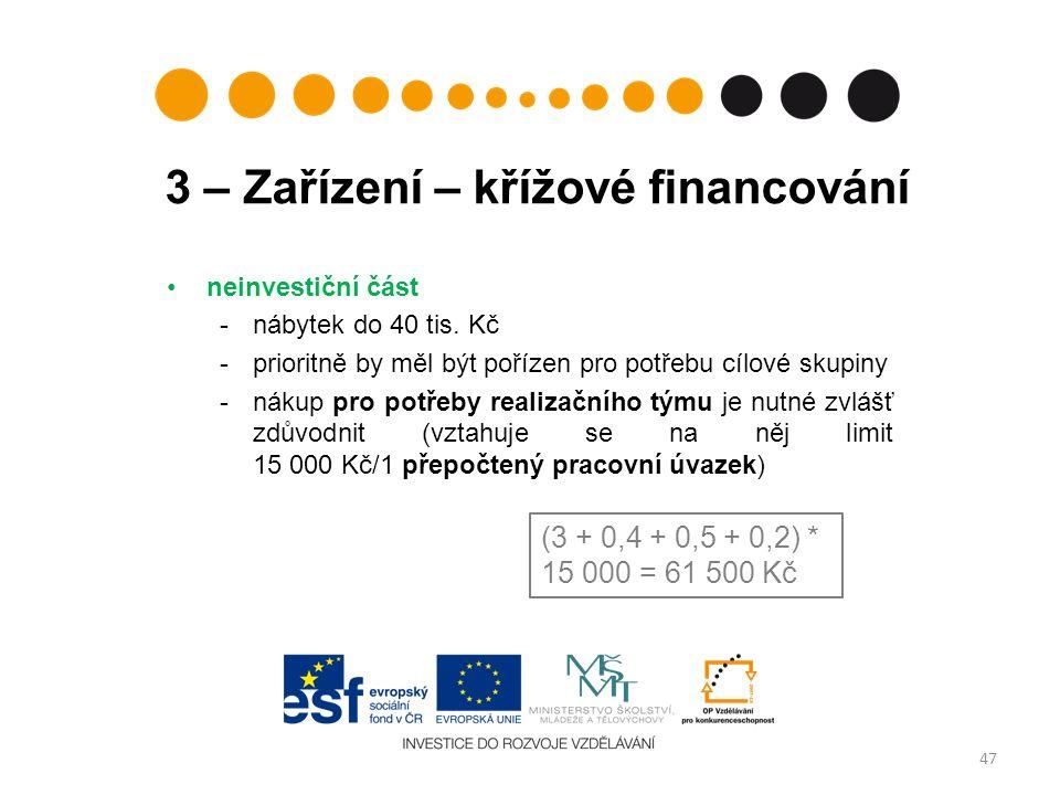 3 – Zařízení – křížové financování neinvestiční část -nábytek do 40 tis.