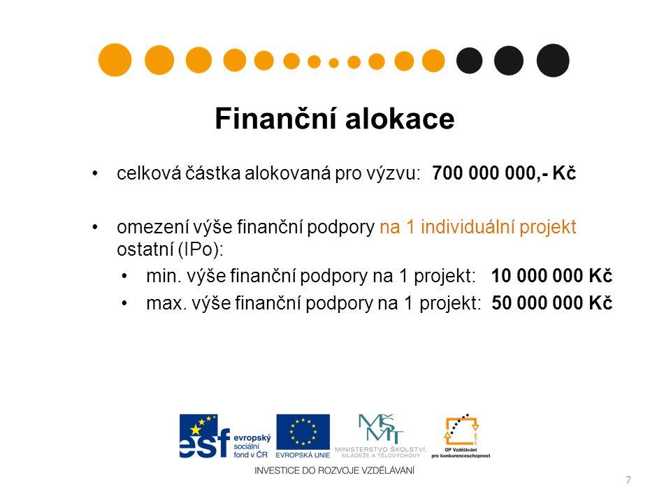 Finanční alokace celková částka alokovaná pro výzvu: 700 000 000,- Kč omezení výše finanční podpory na 1 individuální projekt ostatní (IPo): min.