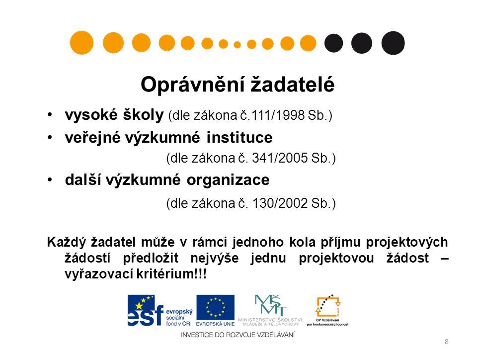 Oprávnění žadatelé vysoké školy (dle zákona č.111/1998 Sb.) veřejné výzkumné instituce (dle zákona č.