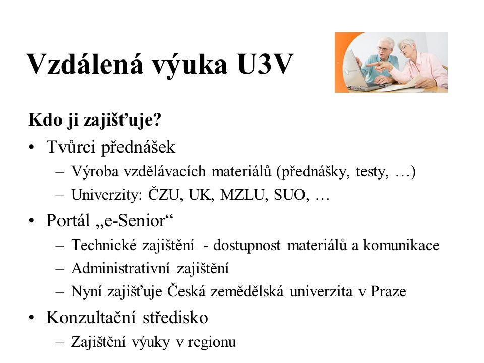 Vzdálená výuka U3V Kdo ji zajišťuje.