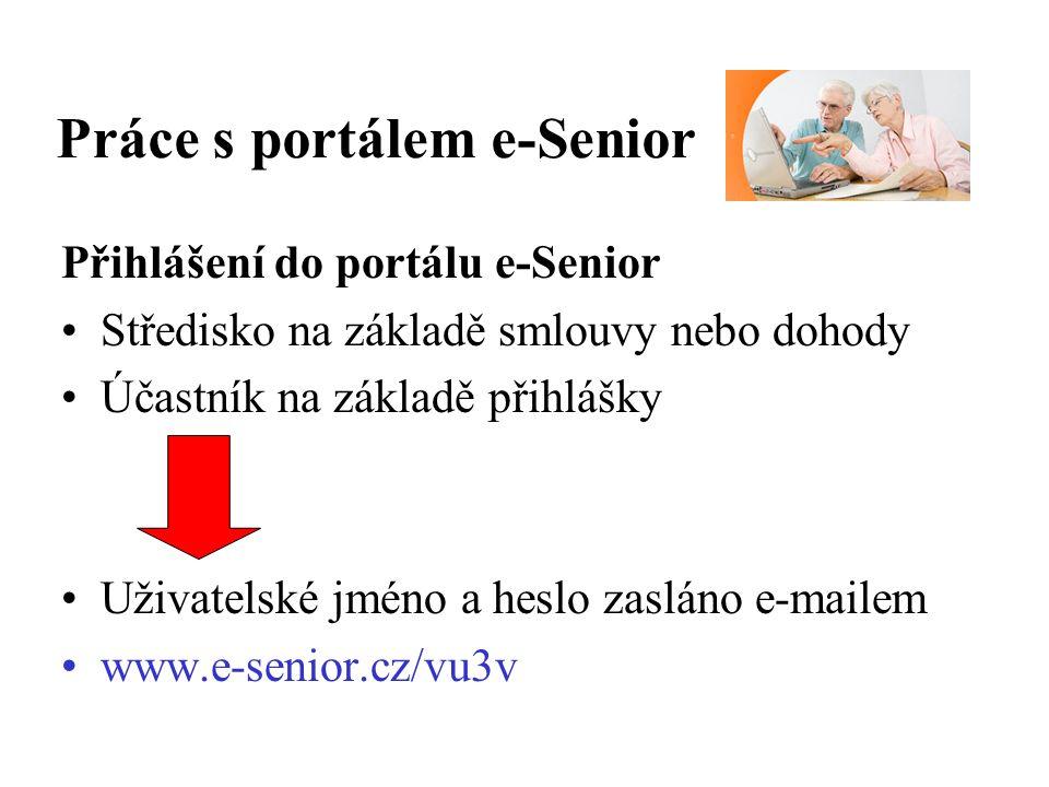 Práce s portálem e-Senior Přihlášení do portálu e-Senior Středisko na základě smlouvy nebo dohody Účastník na základě přihlášky Uživatelské jméno a heslo zasláno e-mailem www.e-senior.cz/vu3v