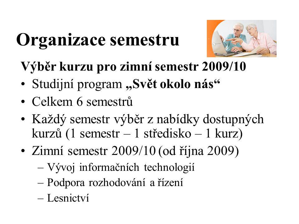 """Organizace semestru Výběr kurzu pro zimní semestr 2009/10 Studijní program """"Svět okolo nás Celkem 6 semestrů Každý semestr výběr z nabídky dostupných kurzů (1 semestr – 1 středisko – 1 kurz) Zimní semestr 2009/10 (od října 2009) –Vývoj informačních technologií –Podpora rozhodování a řízení –Lesnictví"""