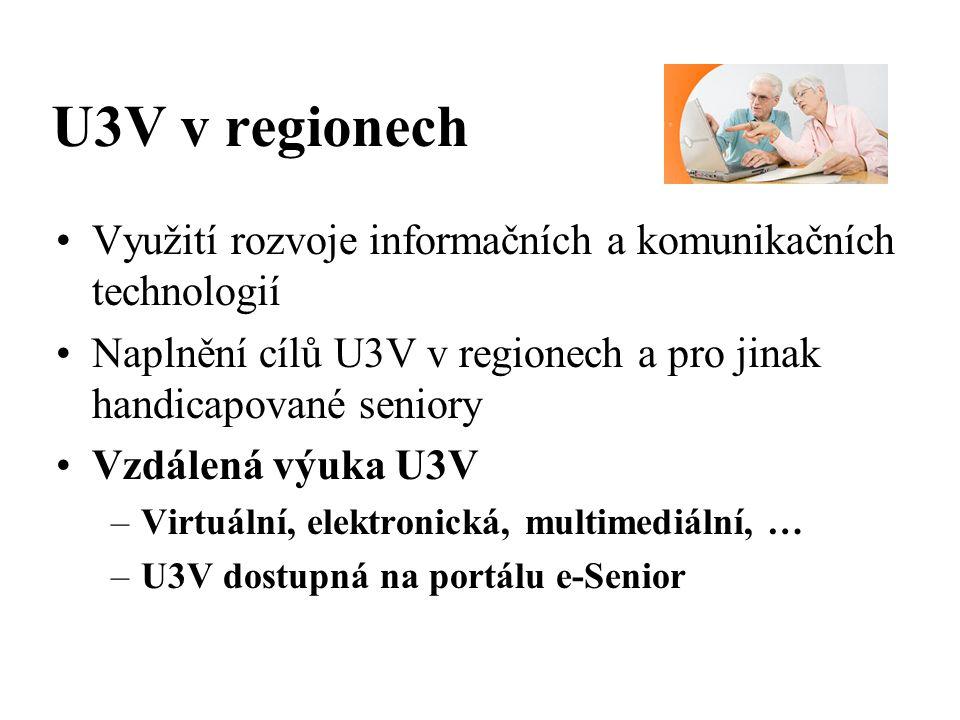 U3V v regionech Využití rozvoje informačních a komunikačních technologií Naplnění cílů U3V v regionech a pro jinak handicapované seniory Vzdálená výuka U3V –Virtuální, elektronická, multimediální, … –U3V dostupná na portálu e-Senior